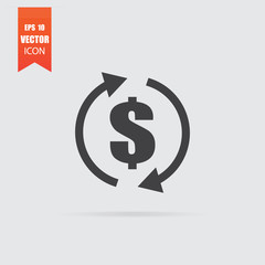 Money transfer icon in flat style isolated on grey background.