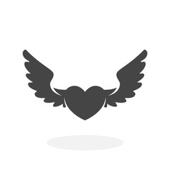 Heart with wings Icon. Vector logo on white background