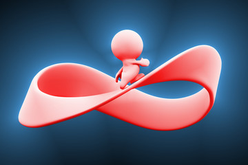 3d pink person running along a mobius strip