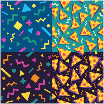 Set of seamless patterns. The 90's and the 80's style. Vector illustration.