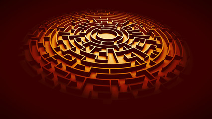 circular maze structure ablaze with orange light surrounded by darkness