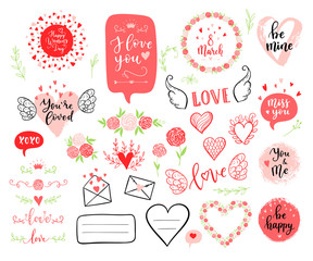 Vector hand drawn fashion elements for Happy Womens Day, wedding. Labels, speech bubble, heart, arraw, wings, flowers set