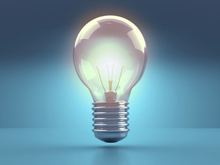 Light bulb illuminate on blue background.