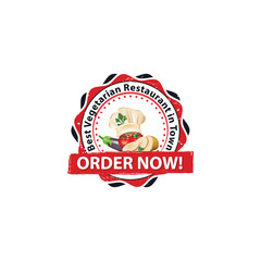 Best vegetarian Restaurant in Town. Order now! - print sticker / label / stamp for food advertising / catering industry.