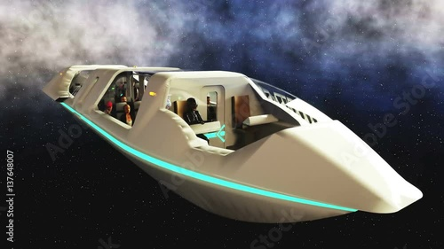 futuristic passenger bus flying in space transport of the future realistic 4k animation. Black Bedroom Furniture Sets. Home Design Ideas