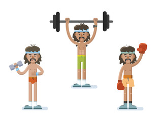 Vector set of funny cartoon man characters doing exercise