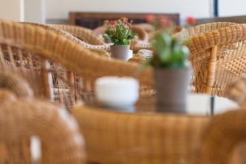 Wicker furniture in cafe