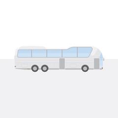 Big white tour bus on light background. Flat vector illustration EPS 10.