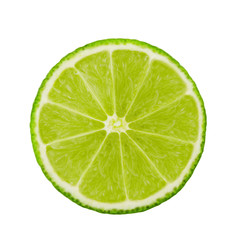 A fresh slice of lime. Circle. Fruits isolated on a white background. With clipping path.