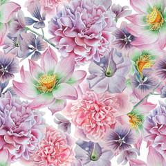 Seamless pattern with flowers. Peony. Lotus. Petunia. Watercolor illustration.