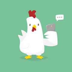 Cartoon chicken holding phone vector