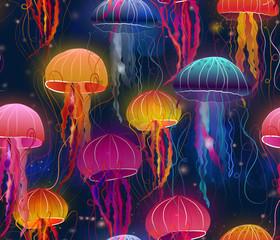 rainbow jellyfish under sea