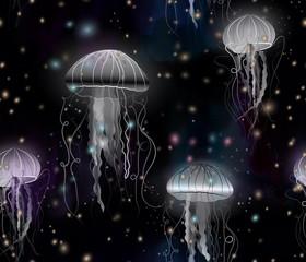 white jellyfish light background