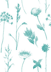 Seamless pattern with dry flowers and grass. Hand drawn illustration with stipple effect. EPS10 vector.