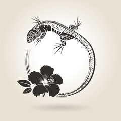 Lizard and Hibiscus