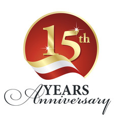 Anniversary 15 th years celebrating logo gold white red ribbon background