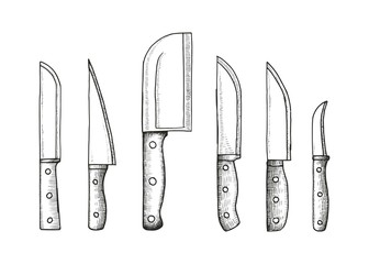 knife set sketch vector illustration isolated