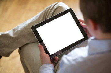 Young man with a tablet