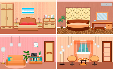 Four living room interiors in one set. Bedroom and hall design with furniture. Fully editable.