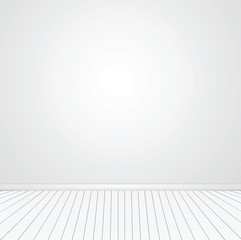 Blank wall.   Empty space with parquet floors. Mock-up template for display or montage of product. Studio or office blank space. Vector image.