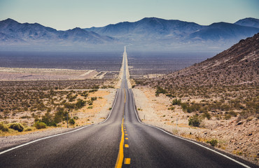 Poster United States Endless straight highway in the American Southwest, USA