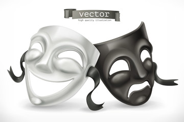 Black and white theatrical masks. Comedy and tragedy, 3d vector icon
