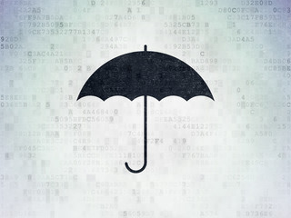 Privacy concept: Umbrella on Digital Data Paper background