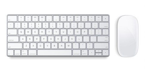 Magic Keyboard and Magic Mouse on a white background Wall mural