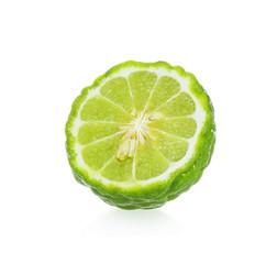 A half of bergamot fruit isolated on white background.