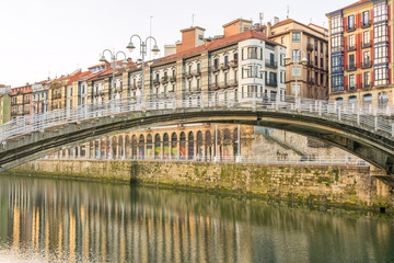 reflections at Bilbao vintage houses, Spain