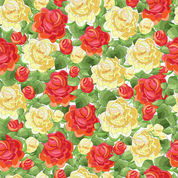 pattern of red and yellow graphic rose with green leaves