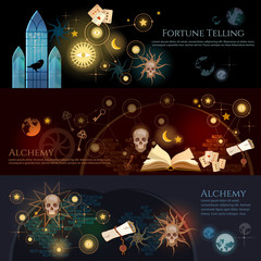 Fortune telling banner. Medieval alchemy, mysticism, occultism, esotericism.  Medieval castle of wizard