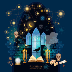 Medieval alchemical laboratory. Open book of spells, skull, occult and esoteric. Fortune telling