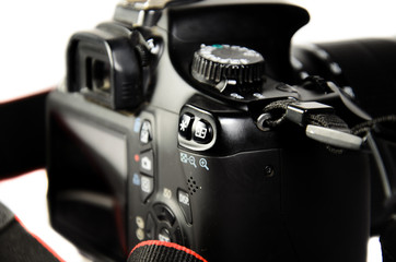 Detail view of modern DSLR camera