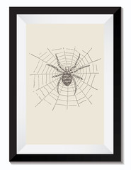 Vintage Retro Vector Drawing Illustration of a Halloween Spider Web in a Frame. Perfect for Web Design, Shirts, Scrapbooking, Logos, Badges. Great as a Graphic Ressource for Illustration Work.