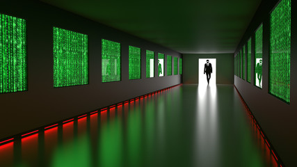 Hacker enters backdoor to server room with binary screens