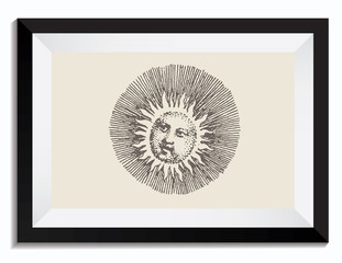 Vintage Retro Vector Drawing Illustration of a Sun in a Frame. Perfect for Web Design, Shirts, Scrapbooking, Logos, Badges. Great as a Graphic Ressource for Illustration Work.