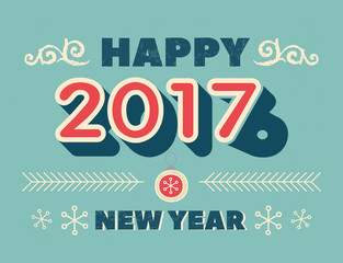 Vintage style greeting card - Happy New Year 2017 and 2016 - retro style typography with decorative elements. Editable, grunge effects can be easily removed. Vector illustration.
