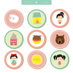 Cartoon icon collection with sheep,girl,bear,house,moon and doll in circle