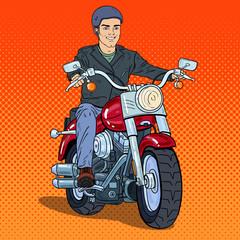 Pop Art Man Biker Riding a Chopper. Vector illustration