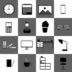 Home office workspace technology web icon set vector