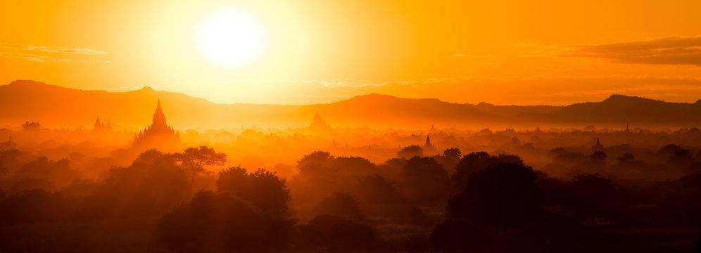 Panorama Sunset over temples in Bagan, Myanmar