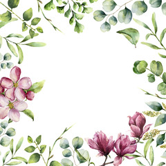 Watercolor floral frame with herbs and flowers. Hand painted plant card with eucalyptus, fern, spring greenery branches, cherry blossom and magnolia isolated on white background.
