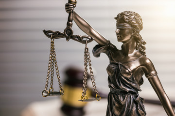 Lady Justice Statue with Wooden gavel