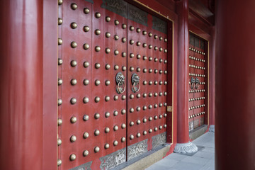 Chinese temple front doors