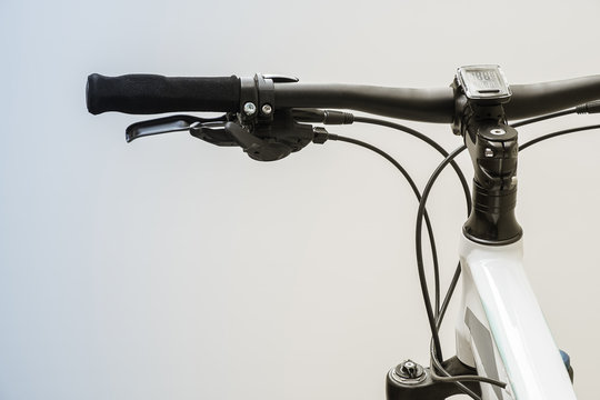 Detail of Bicycle handlebars brake and shifter.