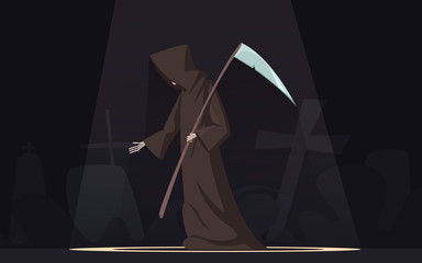 Death With Scythe Symbol Cartoon Image