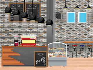 Coffee shop Interior wide Vector