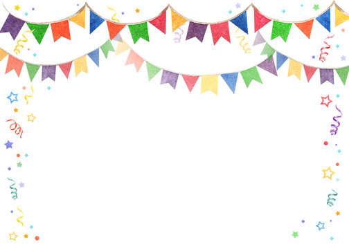 Watercolor illustration of banner flags. Decorations Festival and celebrations.