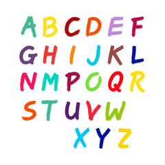 Latin alphabet, the numbers paint brush. Vector